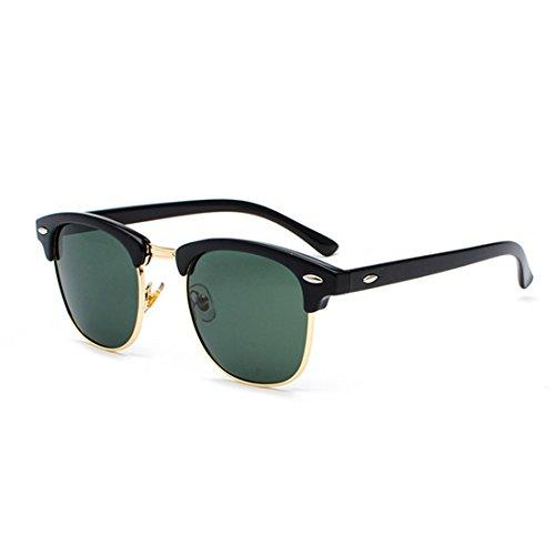 lentes retro Medio Verde UV400 Inlefen Mujeres de Negro marco hombres y Gafas Oscuro Oro polarizados sol 6HwzqxXYw