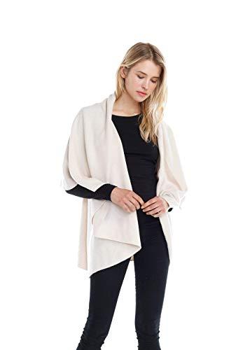 Look By M Women's Draped 4 in 1 Multi Ways Basic Shawl Vest ... (Cream)
