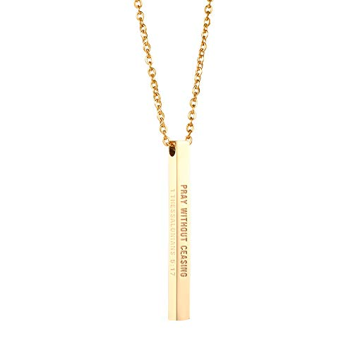 Joycuff Lord Prayer Necklace Bible Verse Engraved Silver Bar Pendant Pray Without Ceasing ()