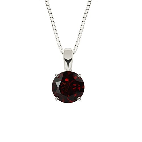 (Hdiamonds Sterling Silver 6mm Round Garnet Solitaire Gemstone Pendant with 18