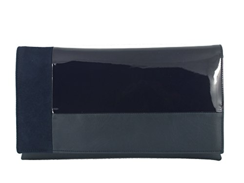 Loni Womens Contrast Clutch/Shoulder Bag in Faux Patent/Suede/Leather Wedding Party Prom Bag Navy
