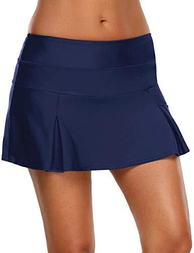 (luvamia Women's Navy Pleated Swim Skirt Mid Waist Swimsuit Bottom Swimwear Medium (Fits US 8 - US 10))