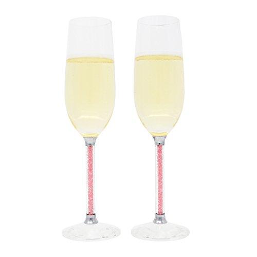 Toasting Flutes, Wedding Champagne Glasses, Set of 2, Acrylic Rhinestones Stem, Pink Rhinestone Champagne Flutes
