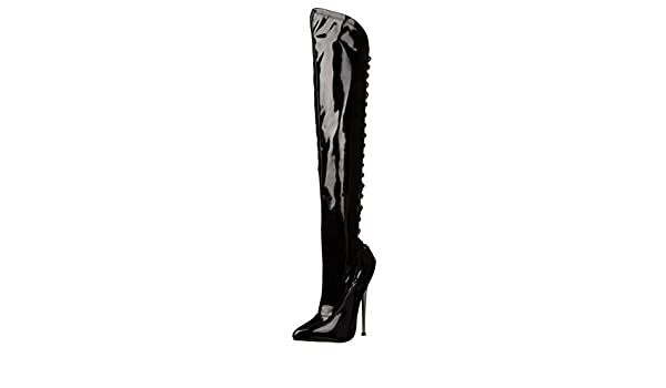 ab5acacd51c41 Amazon.com | Summitfashions Asymmetrical Thigh High Black Boots with ...