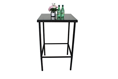 Outdoor Patio Furniture Rattan Black Wicker Bar Square Table with Tempered Glass(Black,Single) by Outime