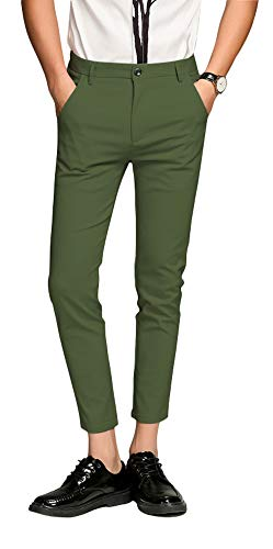 (Plaid&Plain Men's Slim Fit Dress Pants Cropped Skinny Dress Pants 7603Green 36X30)