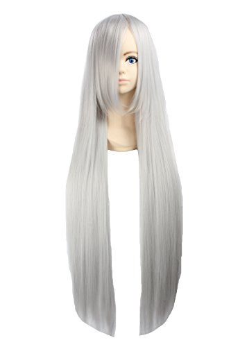 Angelaicos Unisex 100cm Long Straight General Style Halloween Costume Cosplay Party Full Wig 39 Inches (Gray)