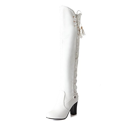 Womens Bowknot Boots Soft Carved Material Spun Chunky White amp;N Gold Flower Heels A fxAqA5