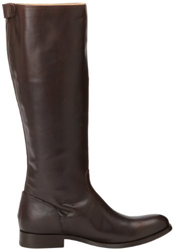 Frye Melissa Button Back Zip Piel Botin Rodilla Dark Brown Wide Calf Smooth Vintage Leather-76431