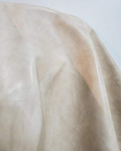 Offwhite Bone Cream 2 Tone Pebblegrain Faux Leather Synthetic Pleather 0.9 mm Madison 1 Yard 52 inch Wide x 36 inch Long Soft Smooth Vinyl Upholstery (Bone Pebble) ()