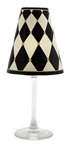 di Potter WS343 Paris Harlequin Paper White Wine Glass Shade, Parchment (Pack of -