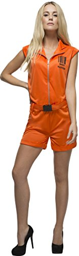 Convict Costume Uk (Smiffy's Women's Fever Convict Queen Jailbird Prisoner Costume, Playsuit and Belt, Robers, Fever, Size 6-8, 24634)