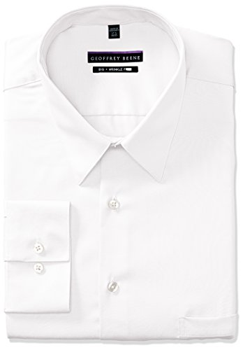 Big Tall Dress Shirts - Geoffrey Beene Men's Sateen Big Fit Solid Point Collar Dress Shirt, White, 19