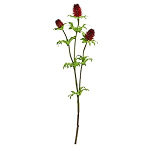 Nearly Natural 2280-S12-RD 22-in. Thistle Artificial (Set of 12) Silk Flowers Red 18