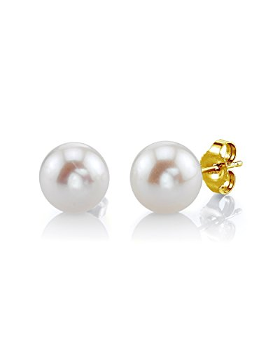 THE PEARL SOURCE 14K Gold 7-8mm AAA Quality Round White Freshwater Cultured Pearl Stud Earrings for Women 14k Yg Box