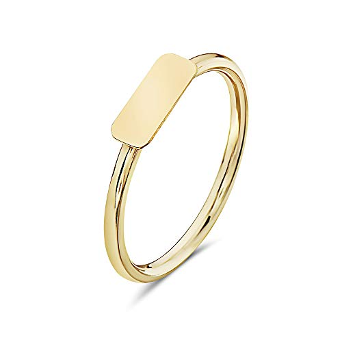 PORI JEWELERS 14K Yellow Gold Geometric Shapes Minimalist Trendy Rings - All Shapes (Rectangle, 5) ()