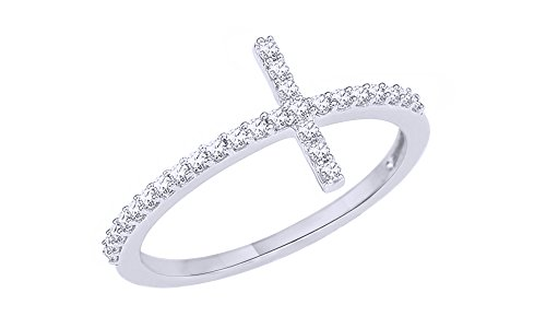 (AFFY White Natural Diamond Cross Ring in 10K Solid White Gold (0.2 Ct))