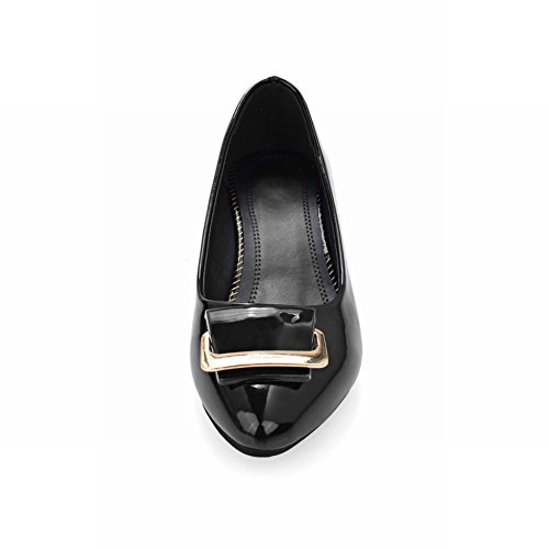 MissSaSa Damen modern und simpel Chunky heel Low-cut Pointed Toe Lackleder Pumps Schwarz