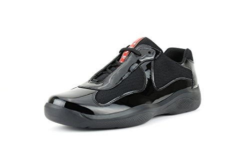 Prada Men's America's Cup Patent Leather Trainer Sneaker, Black (Nero) (11 US/10 - America Prada Cup