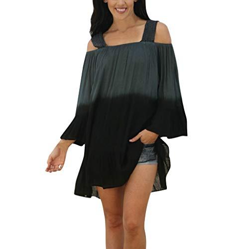 Keliay Bargain Tops,Women Ladies Summer Short Sleeve Gradient Casual Tops T-Shirt Loose Top Blouse Black ()