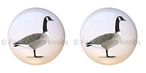 SET OF 2 KNOBS - Canada Goose - Geese - DECORATIVE Glossy CERAMIC Cupboard Cabinet PULLS Dresser Drawer KNOBS (And Knobs Canada Pulls)