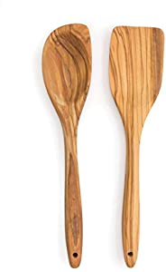 RSVP Set of 2 Olive Wood Utensils, Curved Spoon and Spatula