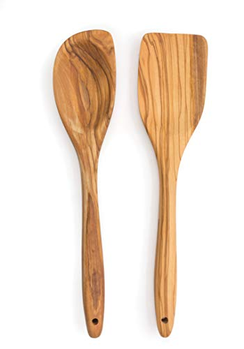 - RSVP Set of 2 Olive Wood Utensils, Curved Spoon and Spatula
