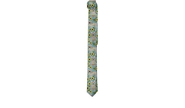 Men French Bulldog Sunflowers Printing Casual Tie Necktie