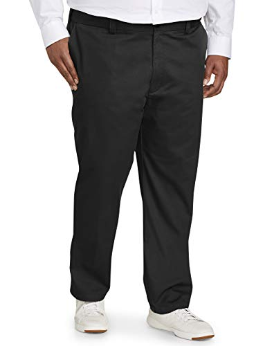 Amazon Essentials Men's Big & Tall Athletic-fit Wrinkle-Resistant Flat-Front Chino Pant fit by DXL, Black, 44W x 34L