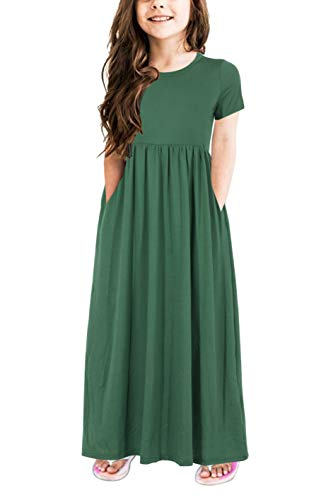 (Gorlya Girl's Short Sleeve Floral Print Loose Casual Holiday Long Maxi Dress with Pockets 4-12 Years (11-12Years/Height:150cm, Green)