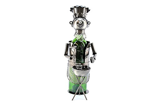 WINE BODIES ZB940 BBQ Barbecue Chef Metal Wine Bottle Holder Character, Charcoal