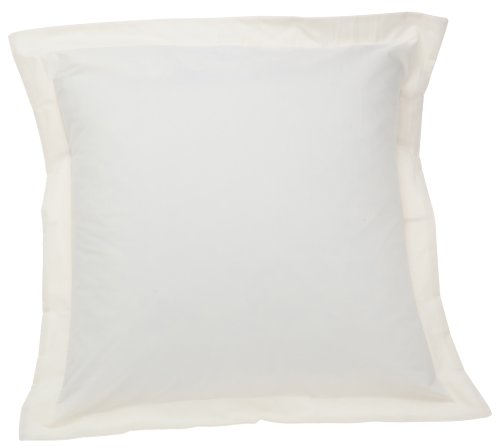 Fresh Ideas Poplin Tailored Pillow Sham, Euro, Ivory (Euro Measurements Sham)