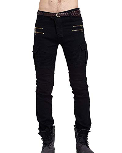 Giovane Nero Fit Slim Jeans In Da Stretch Cargo Multitasche Con Casual Vintage Motociclista Cerniera Uomo Denim Pantaloni Skinny T1nfwgTq8