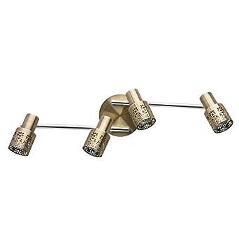 MW-Light 540021002 Faretto Spot da Parete Girevole Multifunzionale di Metallo Colore Cromo E Ottone invecchiato Stile Retro Loft 1 x 35W GU10