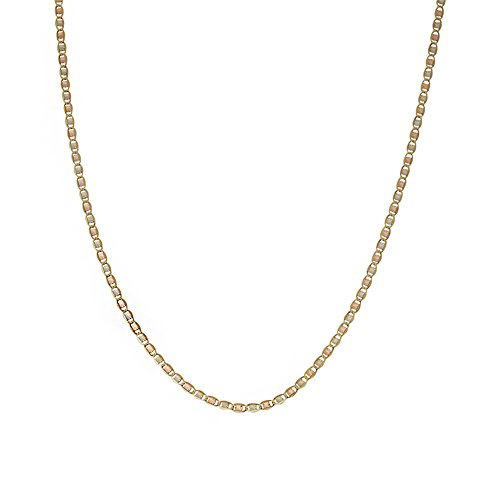 "JewelStop 14k Solid Gold Tri Color 3mm Valentino Chain Necklace, Lobster Claw Clasp - 20"", 4.3gr."