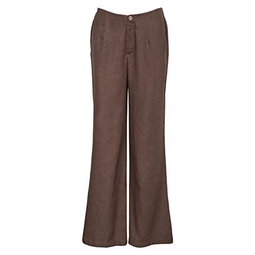 Career Pant Linen (Amazhiyu Womens Linen Wide Leg Palazzo Pants with Pockets Business Chino Pants for Work (Brown, Large))