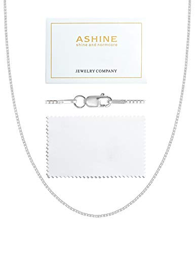 ASHINE Sterling Silver Chain Necklace for Girl 0.8mm Box Chain Lobster Clasp 16 Inches