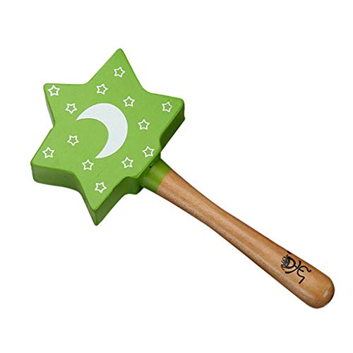 - YOUSIKE Wood Sand Hand Bell, Handbell Sand Hammer, Kids Babys Percussion Instrument, Heart Star Shape Shakers, Musical Educational Toys for Kids and Toddlers (Green Star)