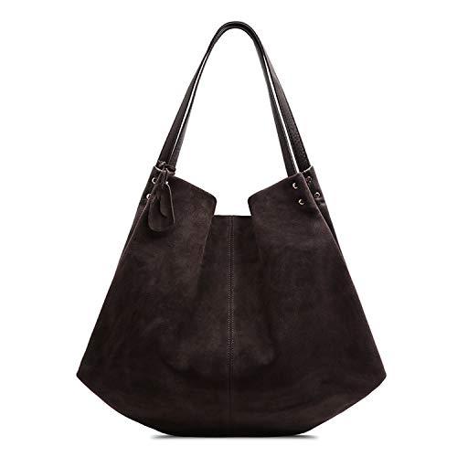 (Women Real Split Suede Leather Hobos Bag Leisure Large Shoulder Bags,Deep Coffee)