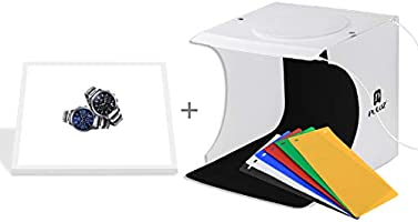 PULUZ Portable Mini Photo Studio Kit 24 x 23 x 22 cm Foldable Light Box Shadowless LED White Background LED Lighted Panel with 6 Backgrounds for Photographing Small Products