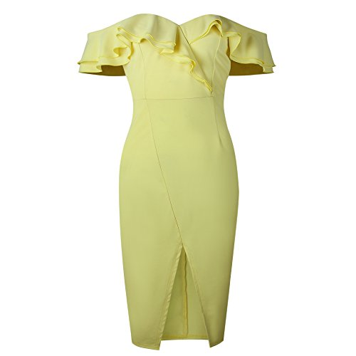 Split Front Rafago Frilled Double Yellow Hip Dress Light qwBIvF