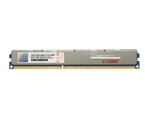 V-Color 16GB (1 x 16GB) Dual Rank Server Memory Ram Module Upgrade DDR3 1600MHz (PC3-12800) VLP ECC Registered DIMM with Heat Sink 1.35V CL11 2Rx4 -