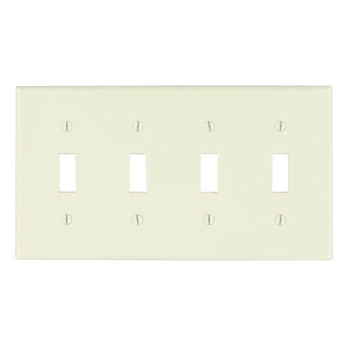 Leviton 78012 4-Gang Toggle Device Switch Wallplate, Standar