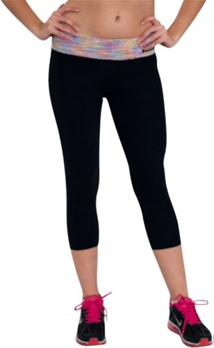 Corduroy Rhinestone Rose (Running / Yoga Women's Black Tights Supportive SUPPLEX Fabric Gym Clothes Sara Crave)