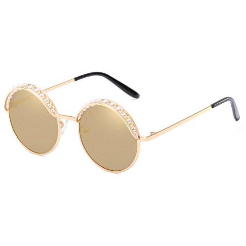 gafas Bead Fashion UV400 Round Shades Vintage sol Aiweijia Oro de Women redondas MetalFrame 8SwndEq