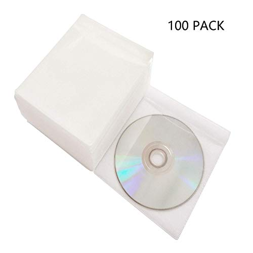 - Baocool 100 Pack Premium CD DVD Sleeves,Thick Non-Woven Material Double-Sided Refill Plastic Sleeve for CD and DVD Storage Binders Disc Case (White)
