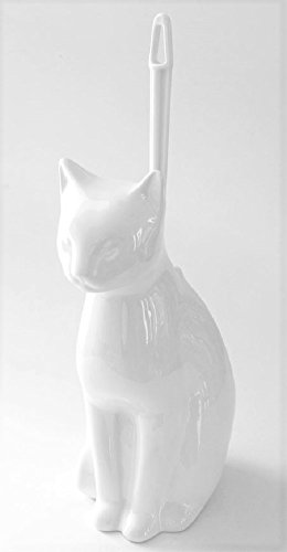 Royal Bath Meow Meow Clean Cat Decorative Ceramic Toilet Brush Holder with Toilet Brush (10.5