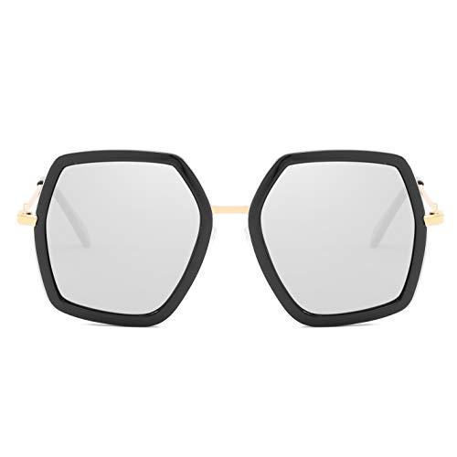 Oversized Square Sunglasses for Women Retro Chic Metal Frame UV400 Geometric Brand Designer Shades (C7 Black Frame/Sliver Lens)