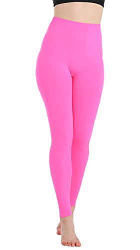 JQAmazing Women's Leggings High Waist Full Length Seamless Yoga Pants for Women & Girls(S/M,Neon Pink) -