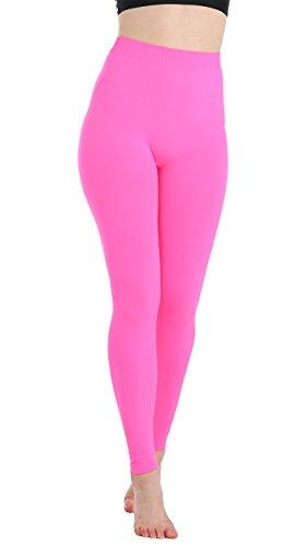 JQAmazing Women's Leggings High Waist Full Length Seamless Yoga Pants for Women & Girls(S/M,Neon Pink) ()